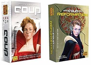 Coup is a strategy game for tweens and teens. It's shown with an expansion deck.