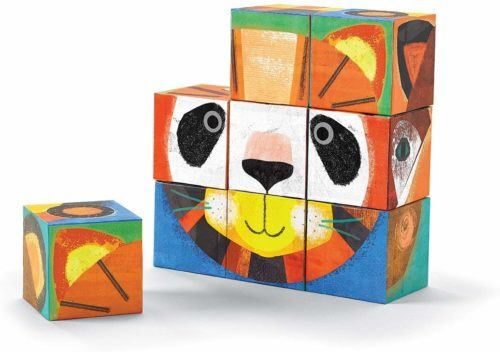Crocodile creek block puzzles have 6 different animals faces to build