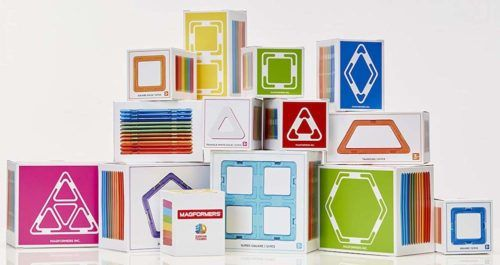Magformers are lightweigh magnetic building tiles that come in a variety of sizes, shapes and colors.