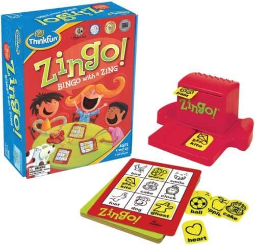 Zingo is a picture-based bingo game that is small enough to travel with.