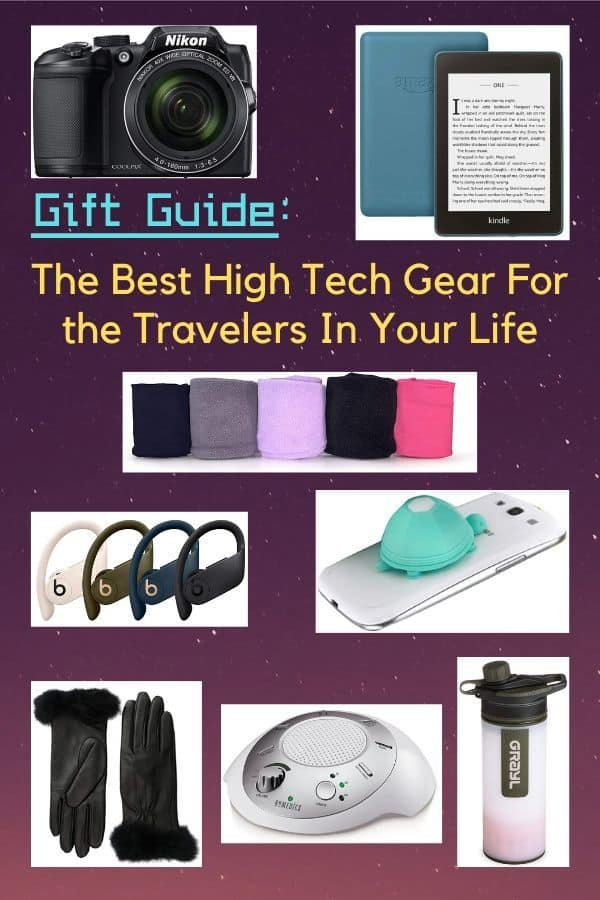 From blue tooth earbuds you won't lose to water bottles that keep you healthy, we round-up the best high-tech gear for family travel. Buy it for someone you love, or maybe for yourself! #gifts #inspiration #travel #tech #gadgets #gear #families