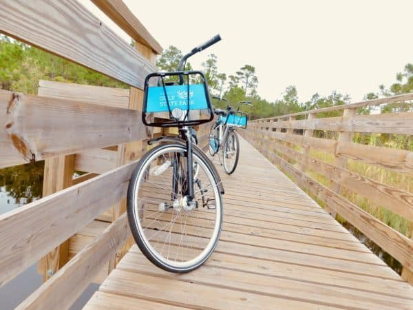 Bikes on a boardwalk at gulf state park in alabama