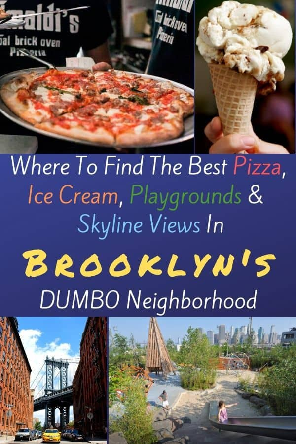 Brooklyn's DUMBO neighborhood offers climbing walls, cobblestone streets, cool playgrounds and trendy food. Here's why your family will want to explore it the next time your in NYC. #brooklyn #DUMBO #NYC #restaurants #playgrounds #skyline #views #thingstodo #kids