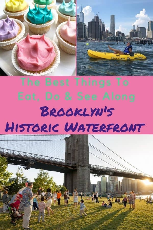 Brooklyn bridge park and waterfront neighborhood next to it offers skyline views, restaurants, historic streets and more to families on vacation in nyc #brooklyn #dumbo #brooklynbridge #kids #vacation #nyc #thingstodo #restaurants #parks #playgrounds