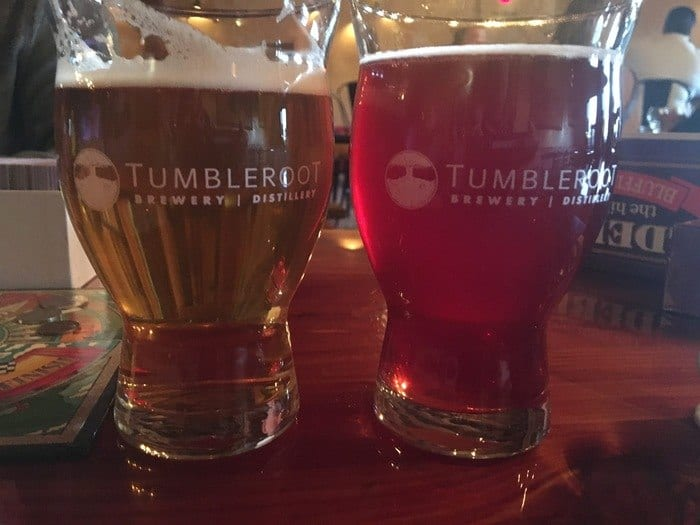 Tumbleroot ipa and honey hiibiscus beer.