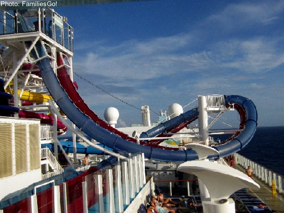 Mega slides like these drop-in ones are part of the fun on big cruise ships