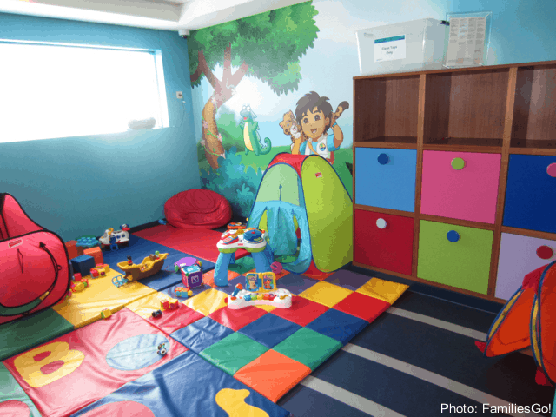 Play areas like this dora-the-explorer themed room on ncl make it easier to cruise with a baby or toddler.