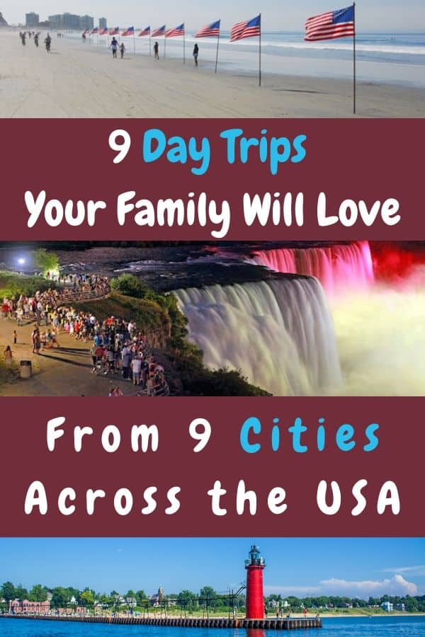 Staying close to home for vacation doesn't mean sitting at home. Here are 9 destinations that  can make  for memorable day trips from 12 u. S. Cities. We recommend things to do, restaurants and hotels in case you want to stay longer. #daytrip #ideas #kids #family #vacation #localtravel #staycation #restaurants #hotels