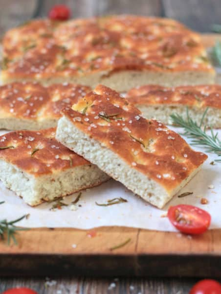 Slices of italian focaccia flavored with sea salt and rosemary