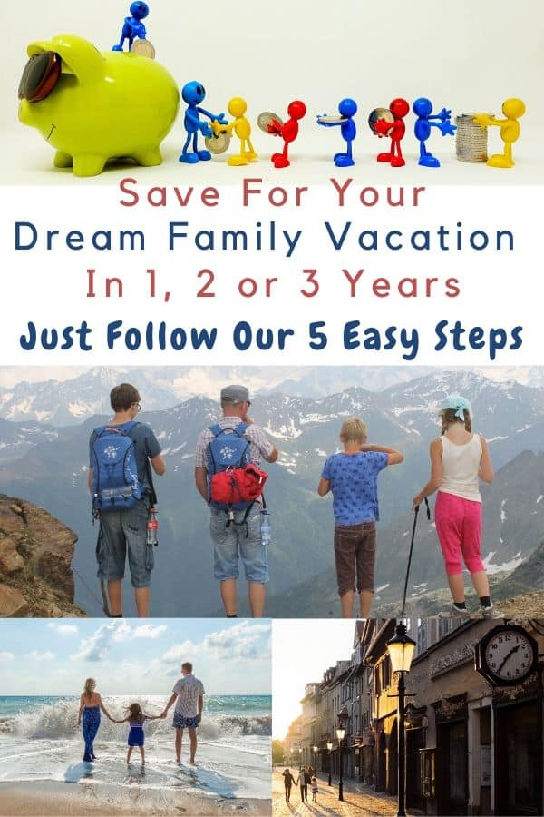 Here are 5 easy steps your family can take together to save for your dream vacation in 1, 2 or 3 years. Plus a printable worksheet to get you started. #dream #vacation #planning #budget #saving #printable #worksheet