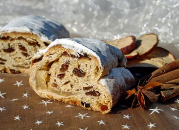Slices of german stollen with a marzipan center.