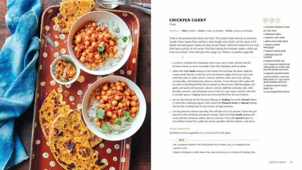 Photo and recipe for insta-pot chickpea curry with yellow flat bread.
