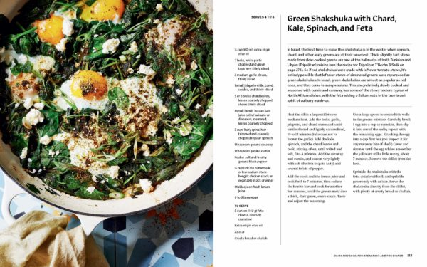 Photo and recipe of green shakshuka with eggs poaches in it.