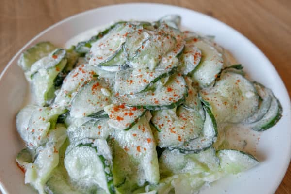 Thus cucumber salad from Hungary is tangy with a dash of red pepper.