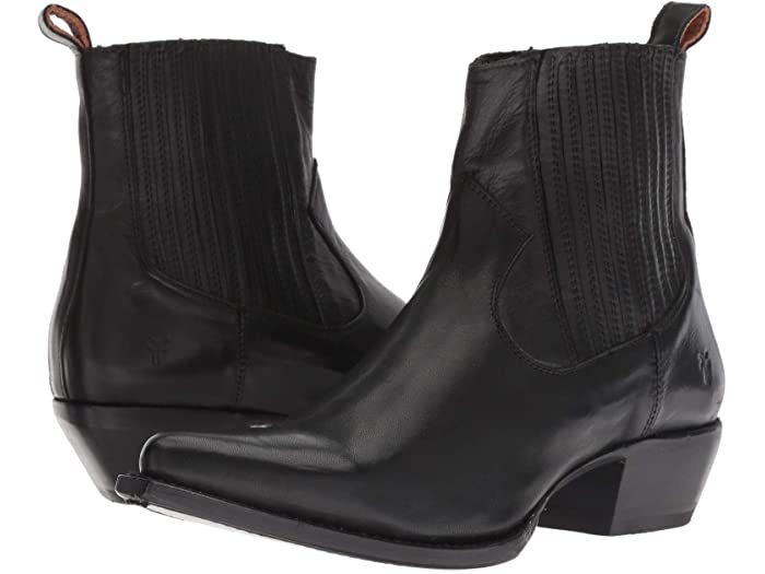 Black sacha chelsea boots from frye & co. Are western enough with a pointy toe and subtle detailing.