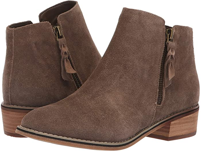 Liam waterproof ankle boots by blondo come im soft taupe suede with wooden heels and a side zipper.