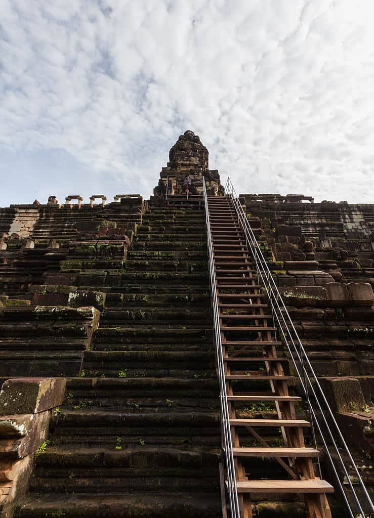 Steps make climbing the recenly restored baphuon temple at angkor slightly safer.
