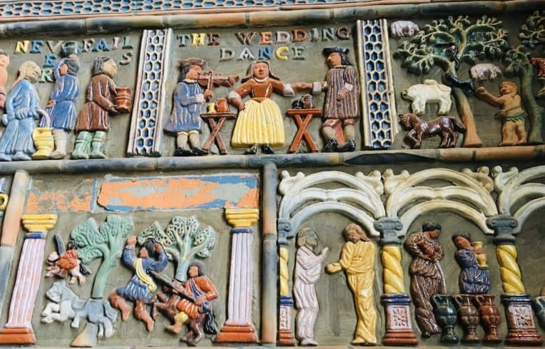 Brightly colored Moravian tiles with panels depicting stories at the Mercer Museum in Bucks County, PA