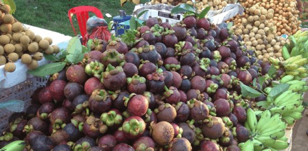 South-east asian fruit including purple mangosteens.