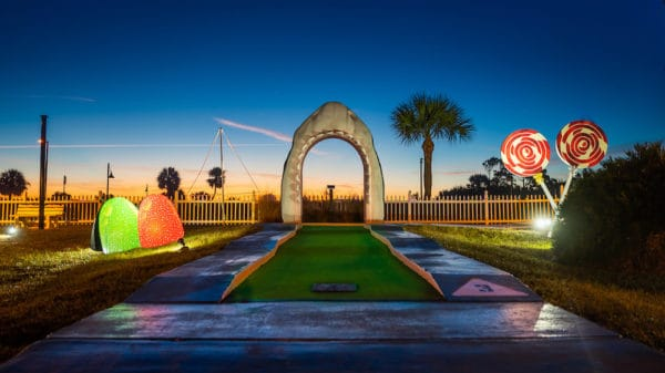 Jeckyll island has mini-golf with gum drops, lollipops and gingerbread men just for christmas.