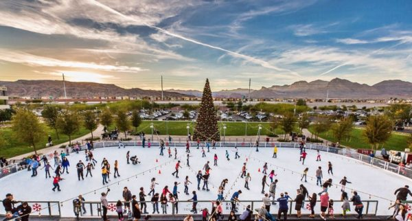 Ice skate in a desert valley with mountain views in summerlin, las vegas.