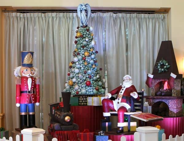 The swan & dolphin's christmas scene features a fireplace, nutcracker, tree, santa and toys all made of white, dark and milk chocolate.