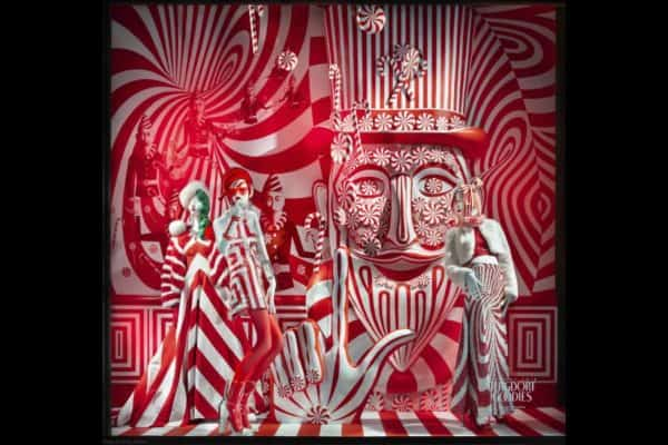Bergdorf's christmas window is always a little over the top. Like this red-and-white motif that blends willy wonka with carnaby street.