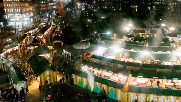 A view from above of the union square holiday market in new york